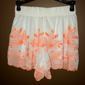 ALLOY Shorts - Neon Lace Embroidered Shorts